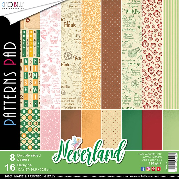 Ciao Bella - Paperpad 30,5 x 30,5 cm - Neverland Pattern Pad