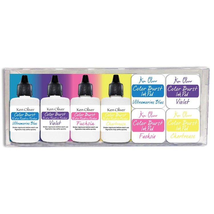 Ken Oliver - Color Burst - 4 Mini ink pads + 4 Reinkers - Set 3