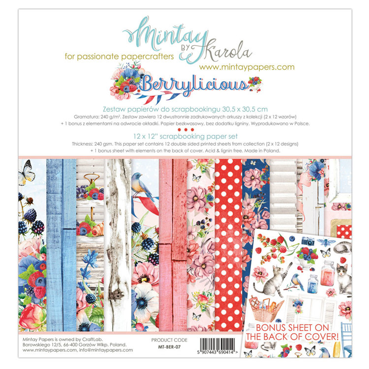 PRE-ORDER 6 - Paperpad Mintay - Berrylicious 30,5 x 30,5 cm - MT-BER-07