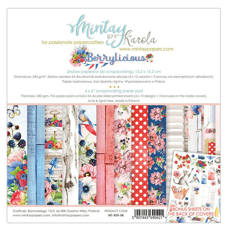 PRE-ORDER 6 - Paperpad Mintay - Berrylicious 15,2 x 15,2 cm - MT-BER-08