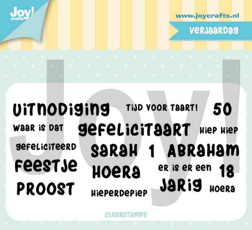 Joy! Crafts - Jocelijne Design - Clearstamp Verjaardagsteksten