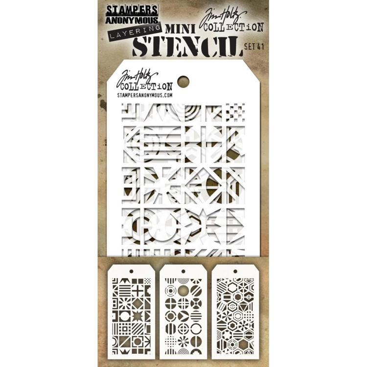 Tim Holtz - Mini Layered Stencil Set 3/Pkg - Set #41
