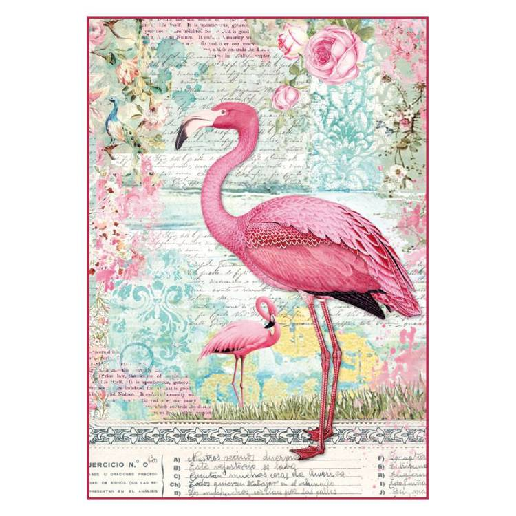 Stamperia - Rice Paper A4 - Pink Flamingo
