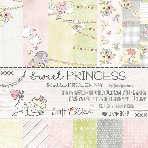 Craft-O-Clock - Paper Collection Set 30,5 x 30,5 cm - Sweet Prinsess