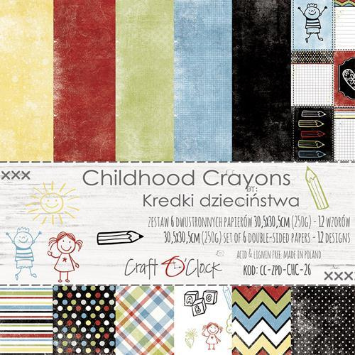 Craft-O-Clock - Paper Collection Set 30,5 x 30,5 cm - Childhood Crayons