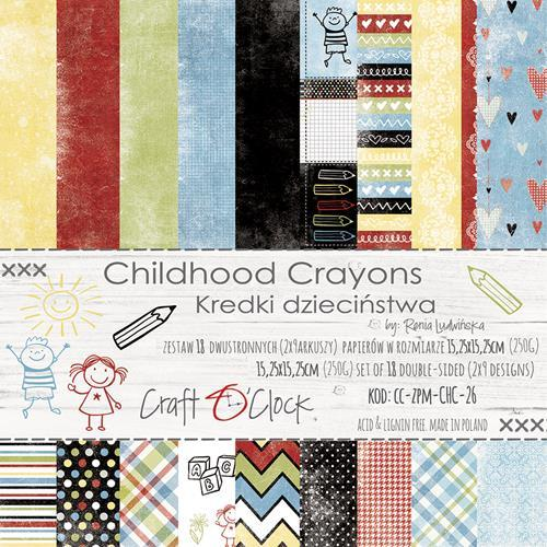 Craft-O-Clock - Paper Collection Set 15,2 x 15,2 cm - Childhood Crayons