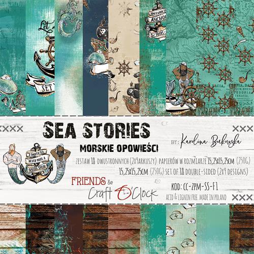 Craft-O-Clock - Paper Collection Set 15,2 x 15,2 cm - Sea Stories