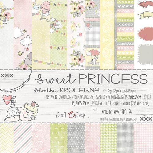 Craft-O-Clock - Paper Collection Set 15,2 x 15,2 cm - Sweet Prinsess