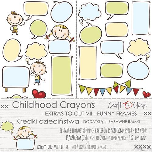 Craft-O-Clock - Paper Collection Set - Childhood Crayons - Funny Frames