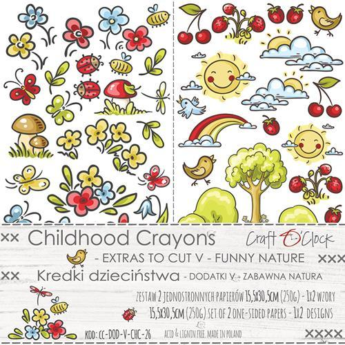 Craft-O-Clock - Paper Collection Set - Childhood Crayons - Funny Nature