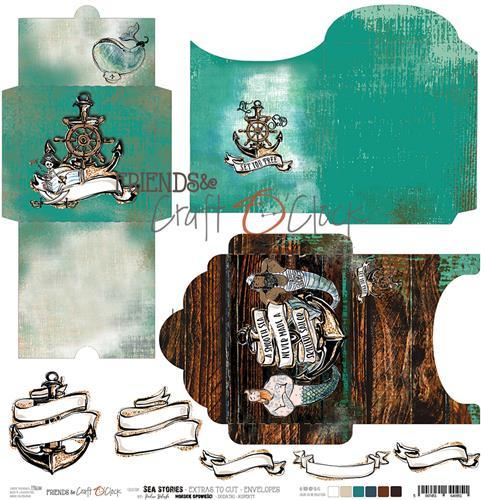 Craft-O-Clock - Cutting Sheet 30,5 x 30,5 cm Enveloppes - Sea Stories