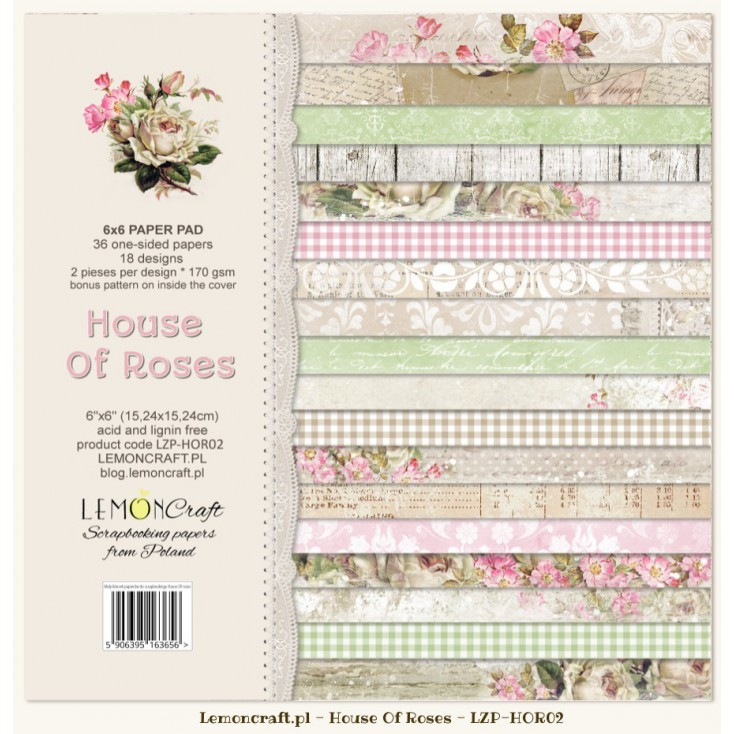 Lemoncraft - Paper Collection Set 15,2 x 15,2 cm - House of Roses