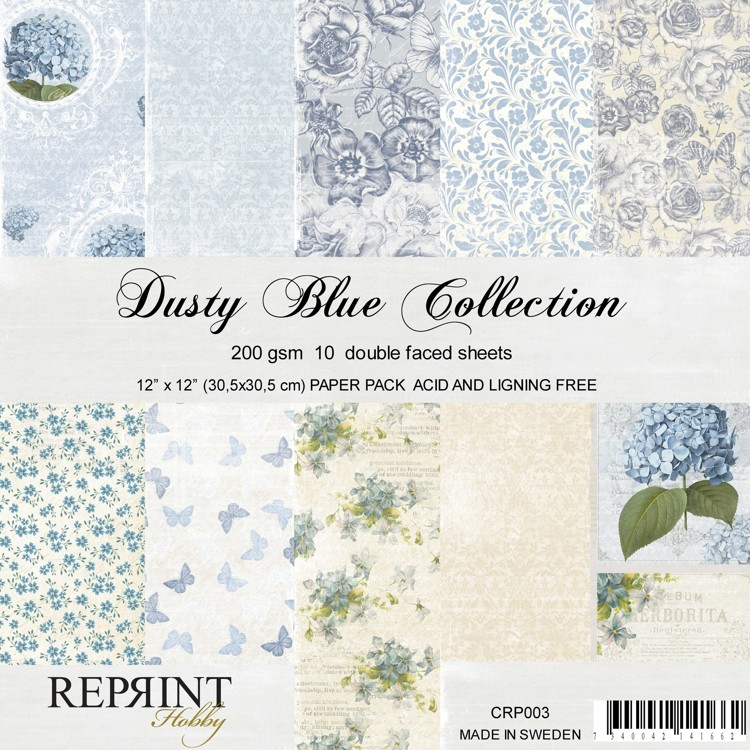 Reprint - Paperpad 30,5 x 30,5 cm - Dusty Blue Collection