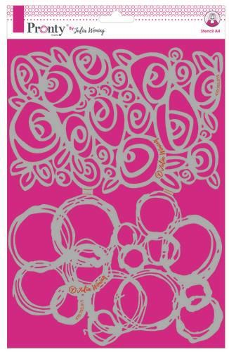 Pronty by Julia Woning - Stencil A4 - Roses & grunge circles