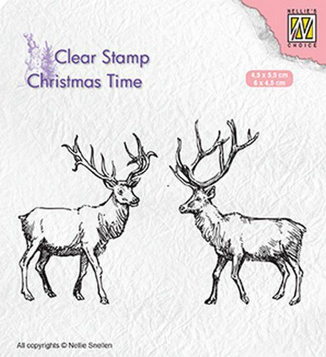 Nellie Snellen - Clearstamp - Christmas time - twee rendieren
