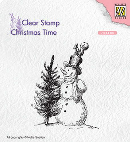Nellie Snellen - Clearstamp - Christmas time sneeuwpop met boom