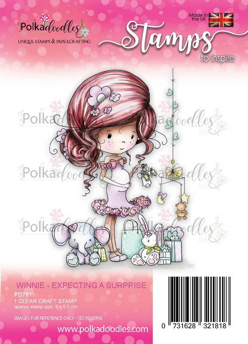 Clearstamp Polkadoodles - Winnie Heavenly - Expecting a surprise