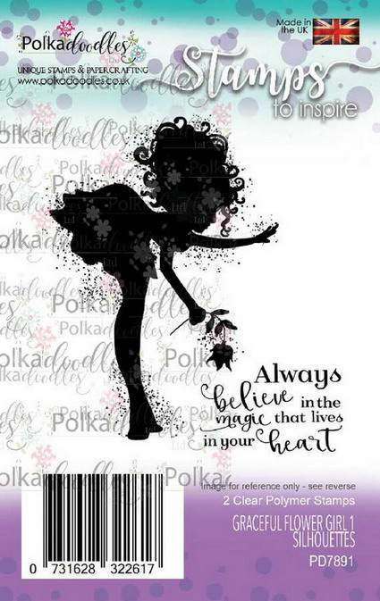 Clearstamp Polkadoodles - Silhouette - Graceful Flower Girl 1