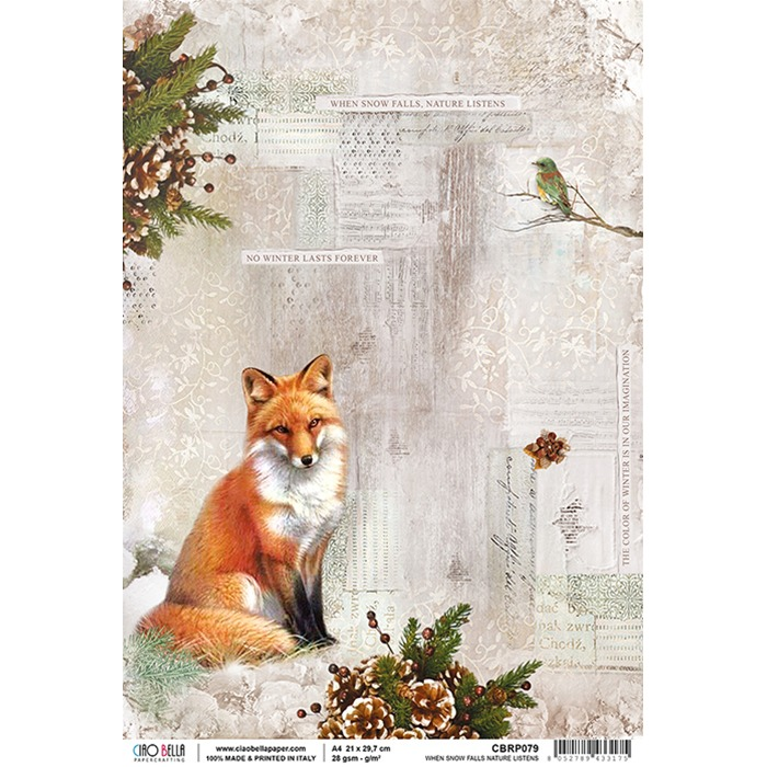 Ciao Bella - Rice Paper A4 - When snow falls nature listens