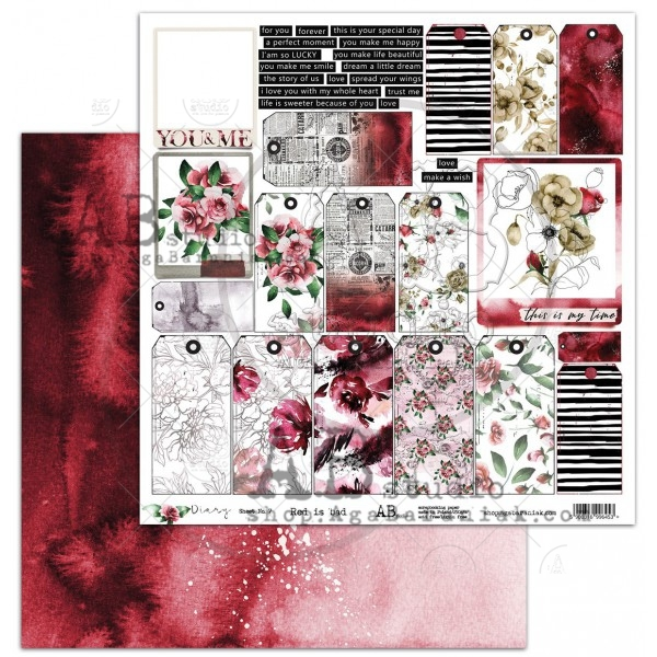 "AB Studio - Scrappapier ""Diary"" - Red is bed"