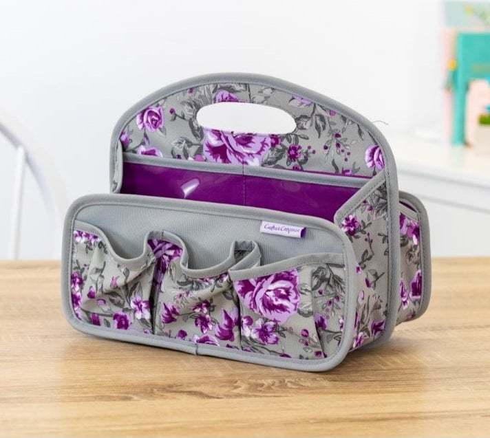 Crafter's Companion - Draagbare Tote - Paarse bloemen
