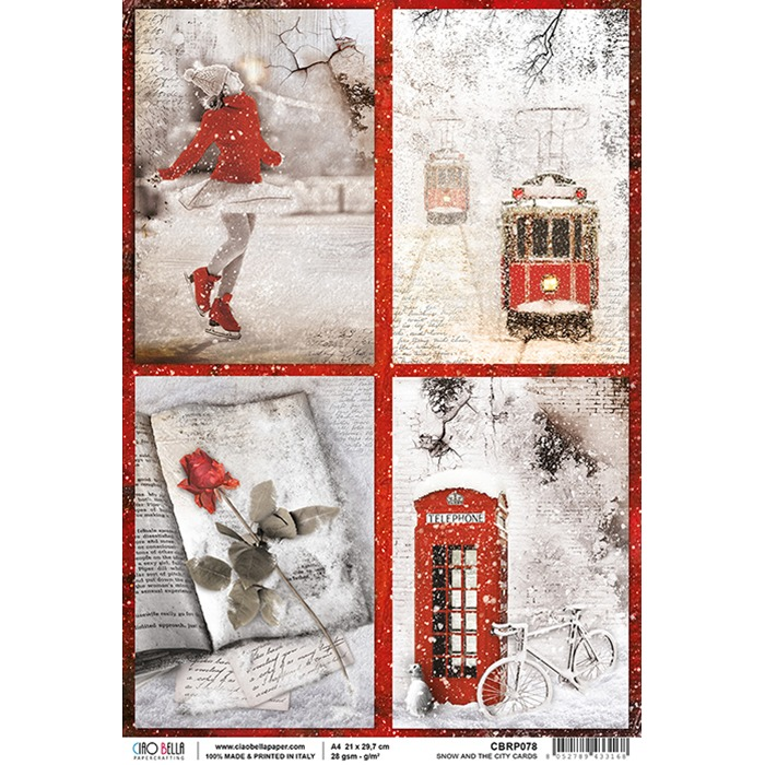Ciao Bella - Rice Paper A4 - Snow and the City Cards