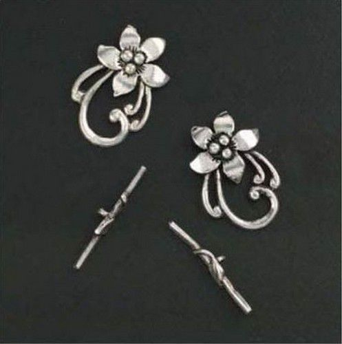 Sluiting - Bar & flower ring - platinum 2ST