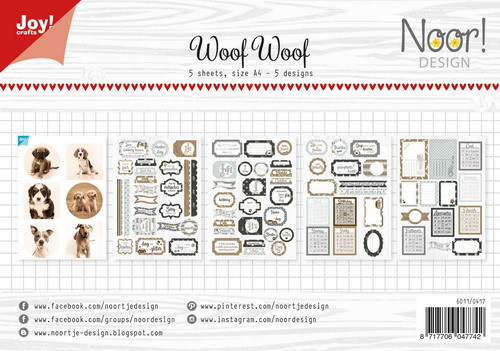 Noor! Design - Paperpad A4 - Label/knipvellen set WoofWoof