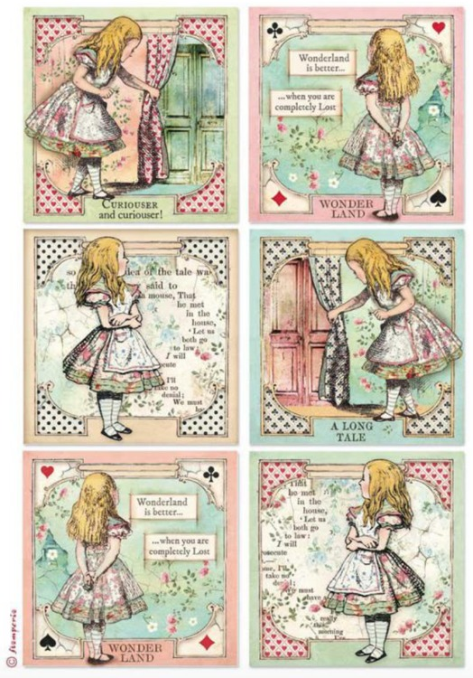 Stamperia - Rice Paper A4 - Alice in Wonderland Cards