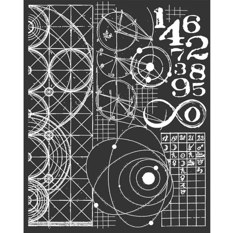 Stamperia - Thick Mixed Media Stencil - Cosmos Astronomy and Numbers