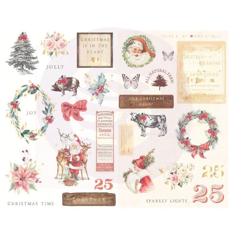 Prima Marketing - Christmas in the Country - Chipboard stickers with foil (29pcs)