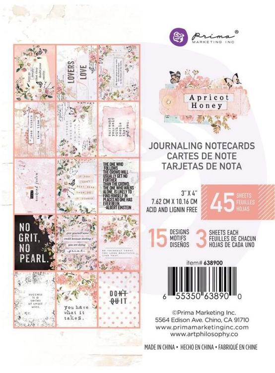 Prima Marketing - Apricot Honey - Journaling Cards 3x4""