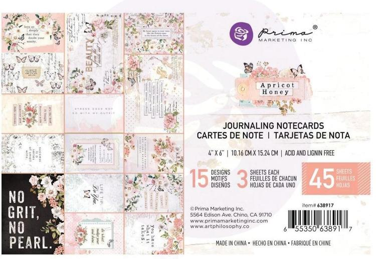 Prima Marketing - Apricot Honey - Journaling Cards 4x6""