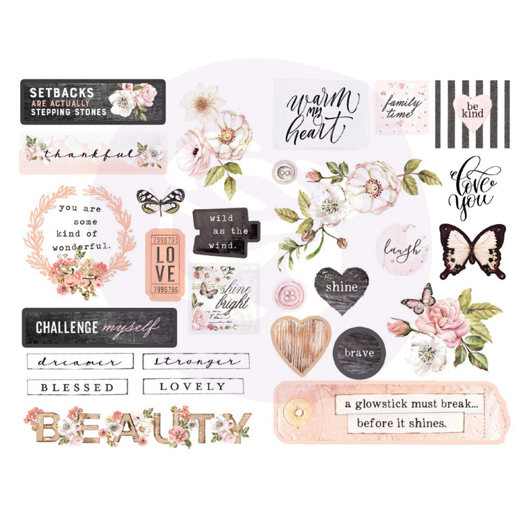 Prima Marketing - Apricot Honey - Ephemera Die-cuts (51 pcs)