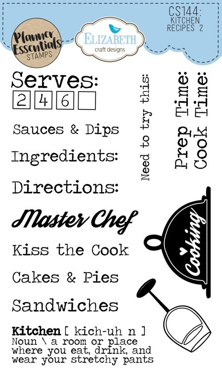 Elizabeth Craft Designs - Clearstamps - `Kitchen Receipes