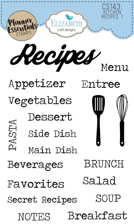 Elizabeth Craft Designs - Clearstamps - `Kitchen Receipes 1