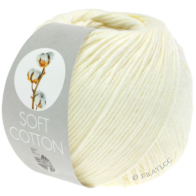 Breiwol Lana Grossa - Soft Cotton - Kleur 02-ecru