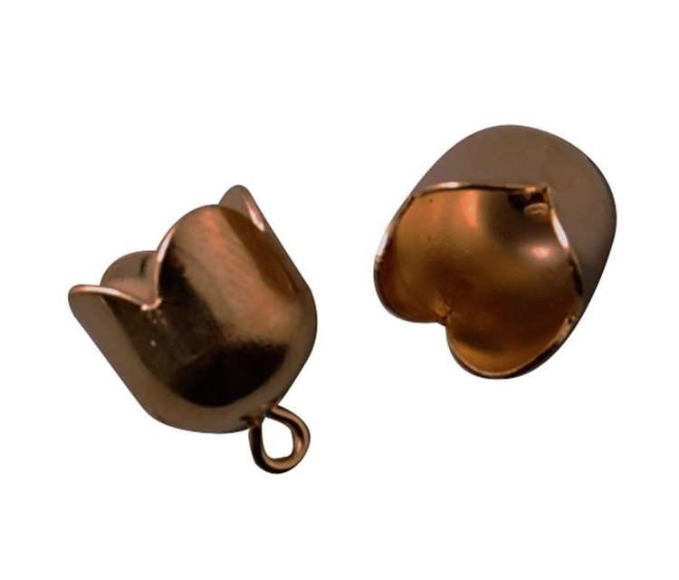 Eindkapjes - Brass Bell Cap with loop - 10mm (8st) - Antique Copper