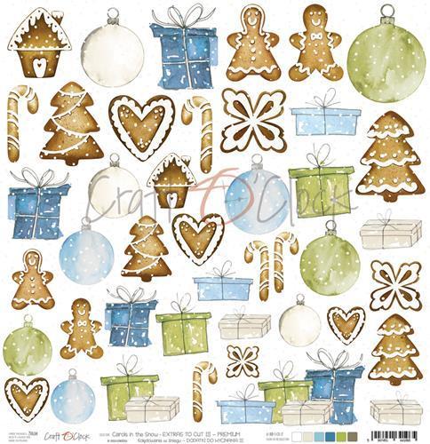 Craft-O-Clock - Scrappapier 30,5 x 30,5 cm - Cutting Sheets - Carols in the Snow 3