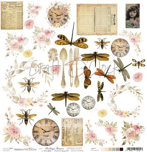 Craft-O-Clock - Scrappapier 30,5 x 30,5 cm - Cutting Sheets - Vintage Bisou