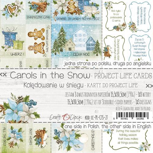 Craft-O-Clock - Set of Project Life Cards - Carols in the Snow