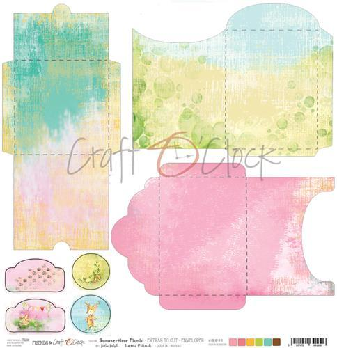 Craft-O-Clock - Scrappapier 30,5 x 30,5 cm - Cutting Sheets - Summertime Picnic Enveloppes