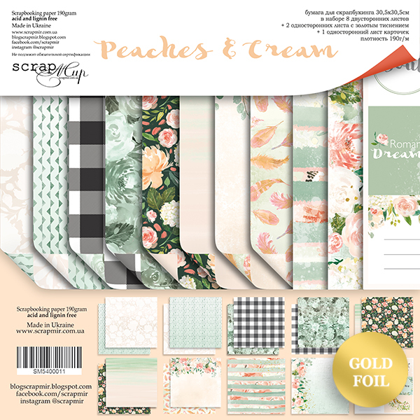Scrapmir - Peaches & Cream Paper Pad 30,5 x 30,5 cm