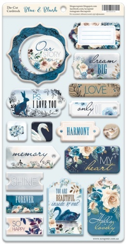 Scrapmir -  Blue & Blush Chipboard Die Cut