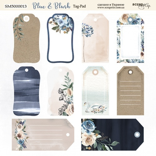 Scrapmir - Blue & Blush Tag Sheet 20 x 20 cm
