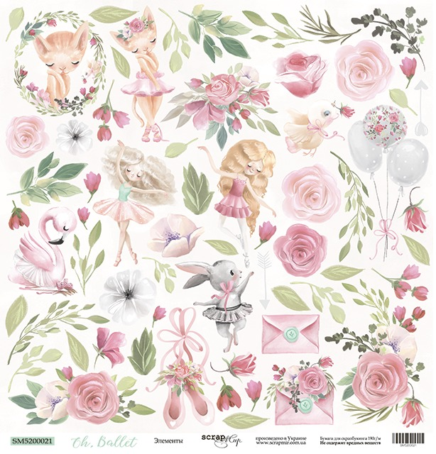 Scrapmir - Oh Ballet - Cutting Sheet Flowers 30,5 x 30,5 cm