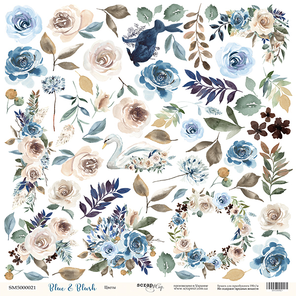 Scrapmir - Blue & Blush - Cutting Sheet Flowers 30,5 x 30,5 cm