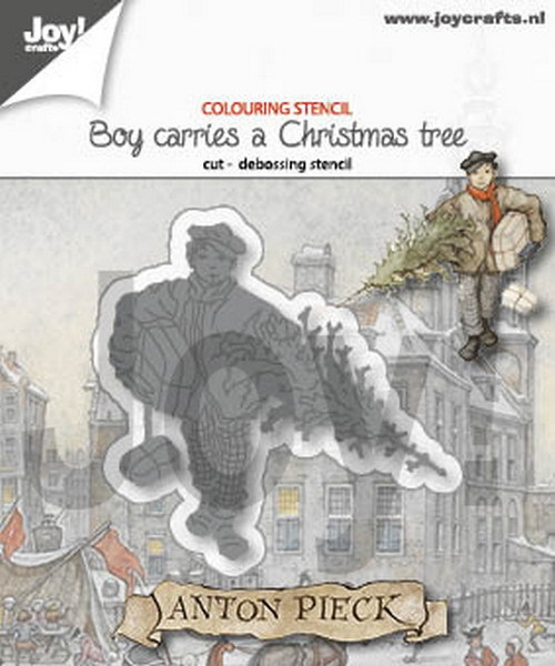 Joy! Crafts - Anton Pieck - Stansmal Boy carries a Christmas Tree