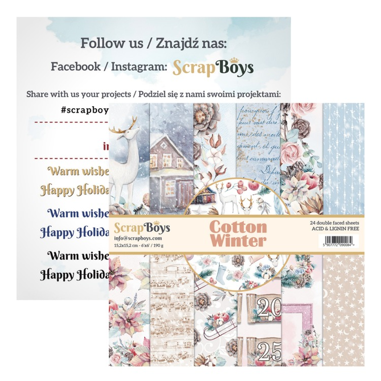 ScrapBoys - Cotton Winter - Paperpad 15 x 15 cm
