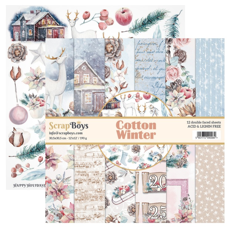 ScrapBoys - Cotton Winter - Paperpad 30,5 x 30,5 cm